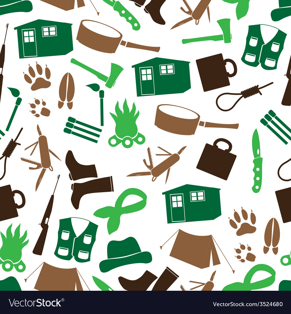 Simple backwoodsman icons seamless pattern eps10 vector | Price: 1 Credit (USD $1)