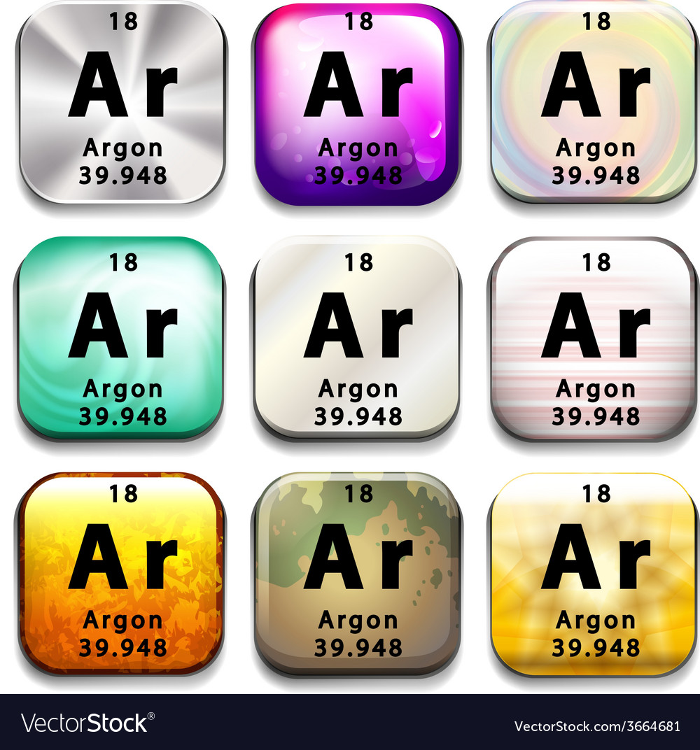 A periodic table button showing argon vector | Price: 1 Credit (USD $1)