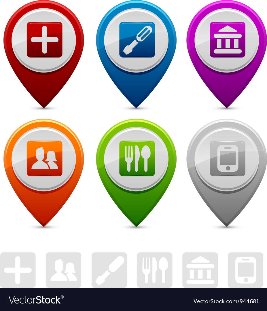 Location markers vector | Price: 1 Credit (USD $1)