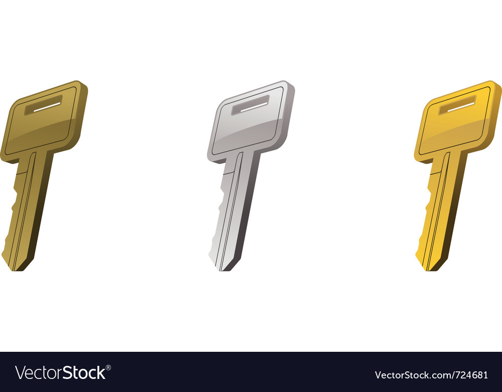 Metal key set three vector | Price: 1 Credit (USD $1)