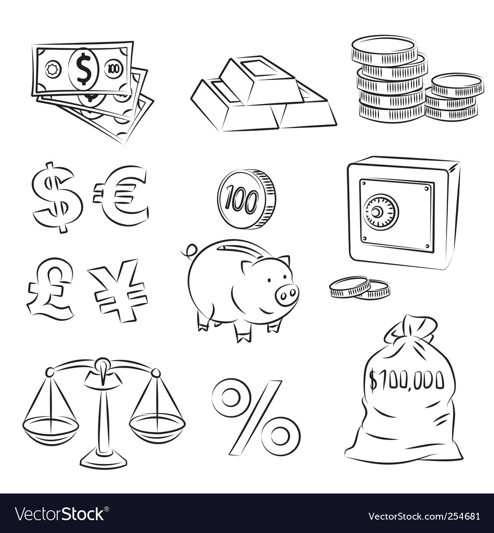 Money sketch set vector | Price: 1 Credit (USD $1)