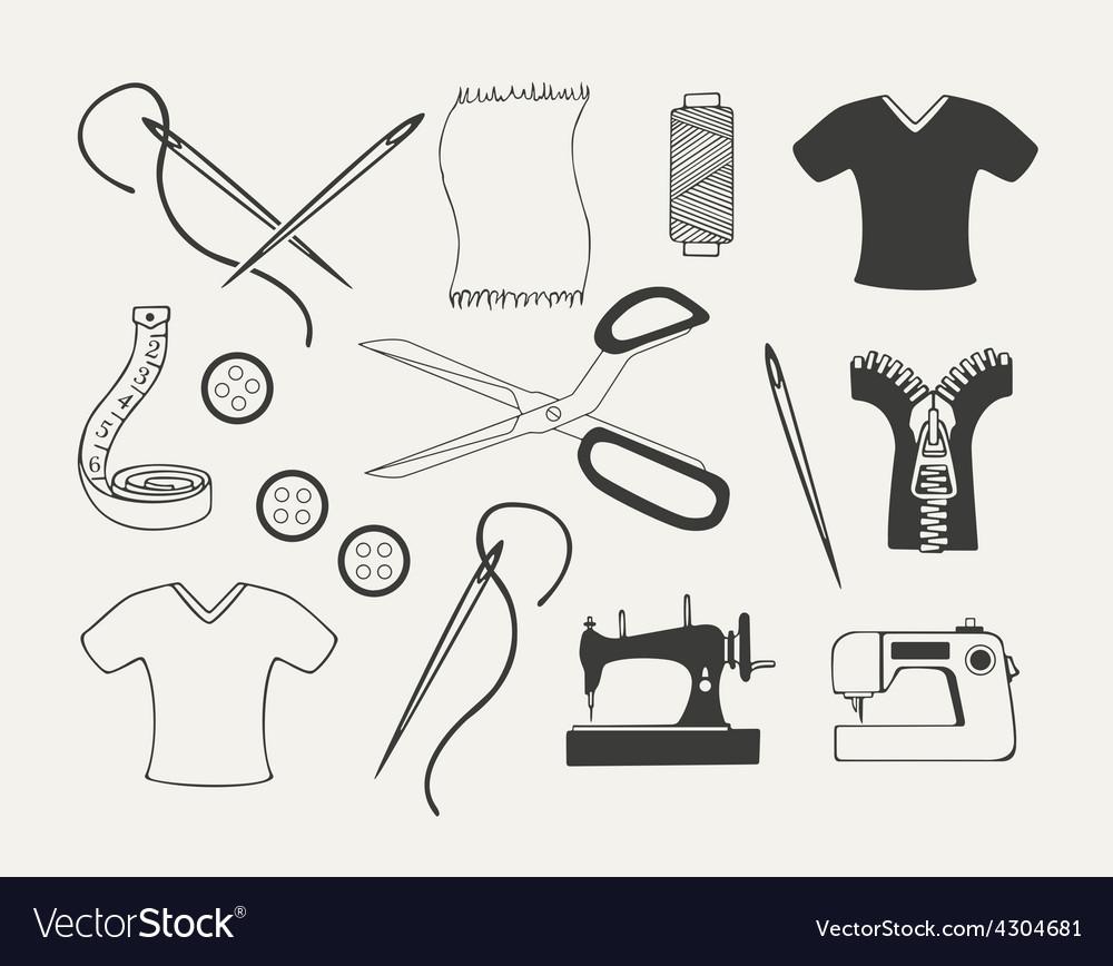 Set of dressmaking emblems badges labels and vector | Price: 1 Credit (USD $1)
