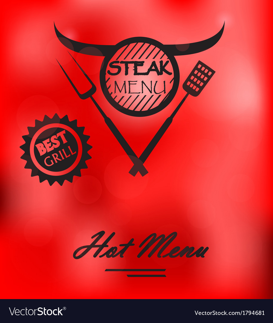 Steak menu poster vector | Price: 1 Credit (USD $1)