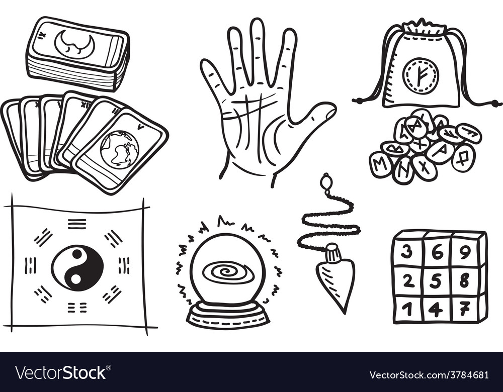 Various types of fortune telling vector   Price: 1 Credit (USD $1)