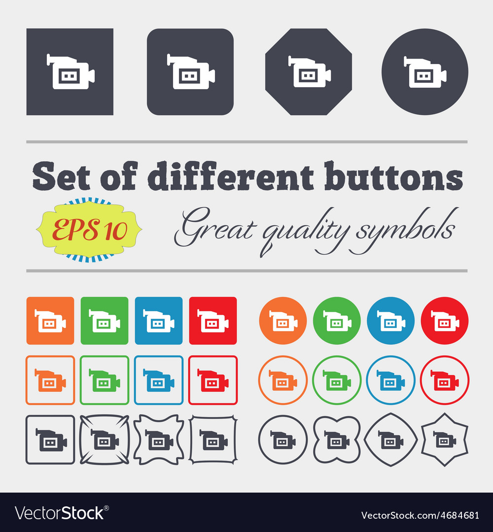 Video camera icon sign big set of colorful diverse vector | Price: 1 Credit (USD $1)