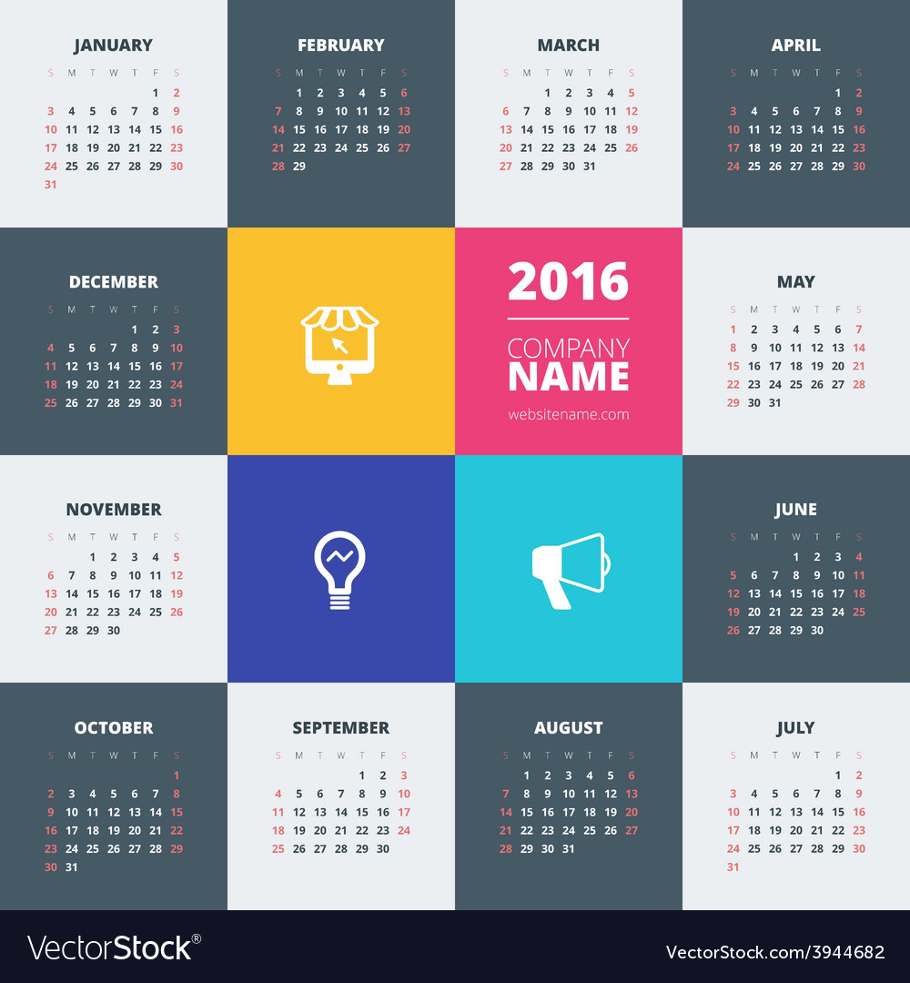 Calendar 2016 decign template week starts sunday vector | Price: 1 Credit (USD $1)