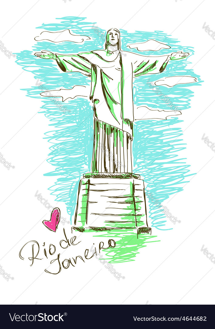 Christ the redeemer in rio de janeiro vector | Price: 1 Credit (USD $1)