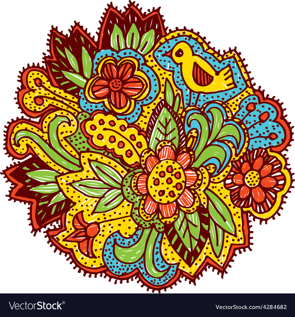 Doodle with flowers and birds brown yellow blue vector | Price: 1 Credit (USD $1)