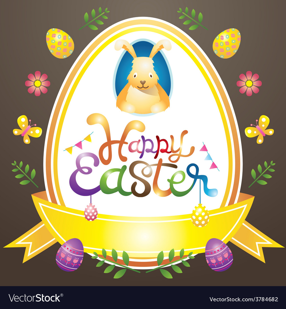 Easter heading label with eggs and icons vector | Price: 3 Credit (USD $3)