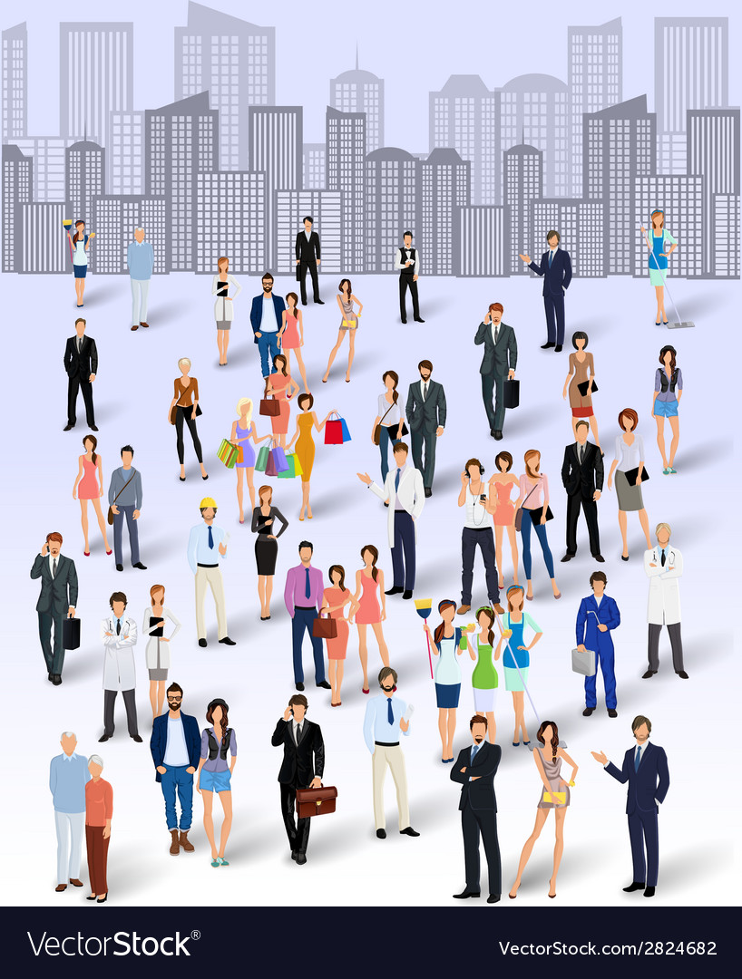 Group of people in the city vector | Price: 1 Credit (USD $1)