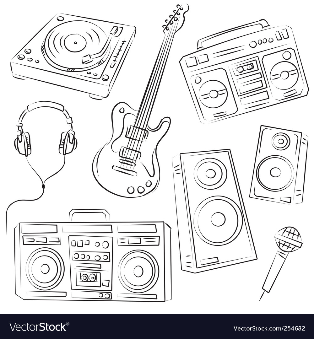 Music set sketch vector | Price: 1 Credit (USD $1)
