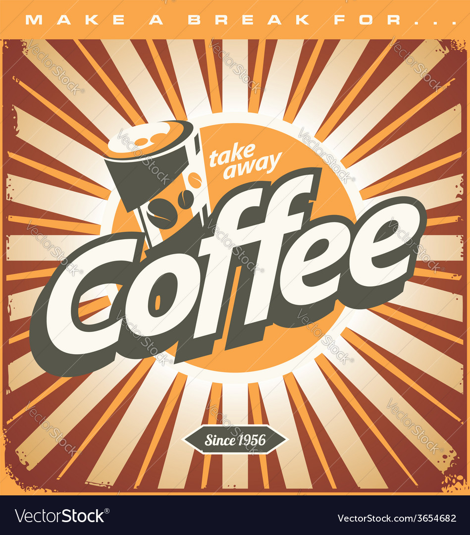 Retro coffee shop design concept on old metal back vector | Price: 1 Credit (USD $1)