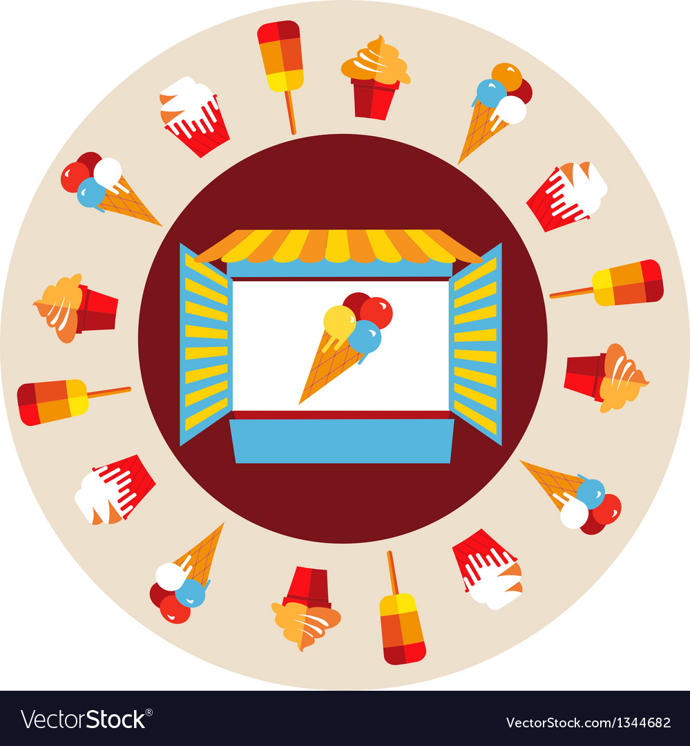 Shop window of ice cream vector | Price: 1 Credit (USD $1)