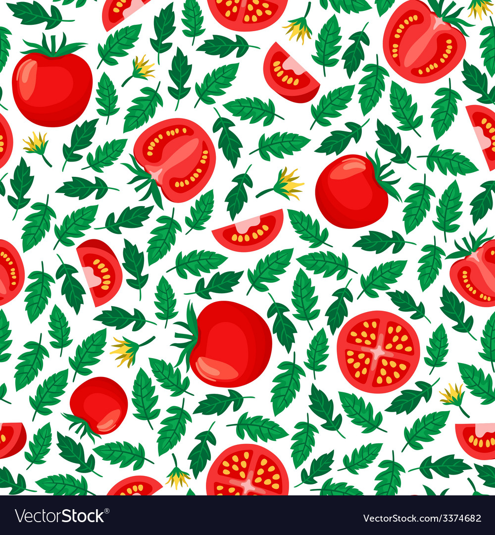 Tomatoes seamless pattern vector | Price: 1 Credit (USD $1)