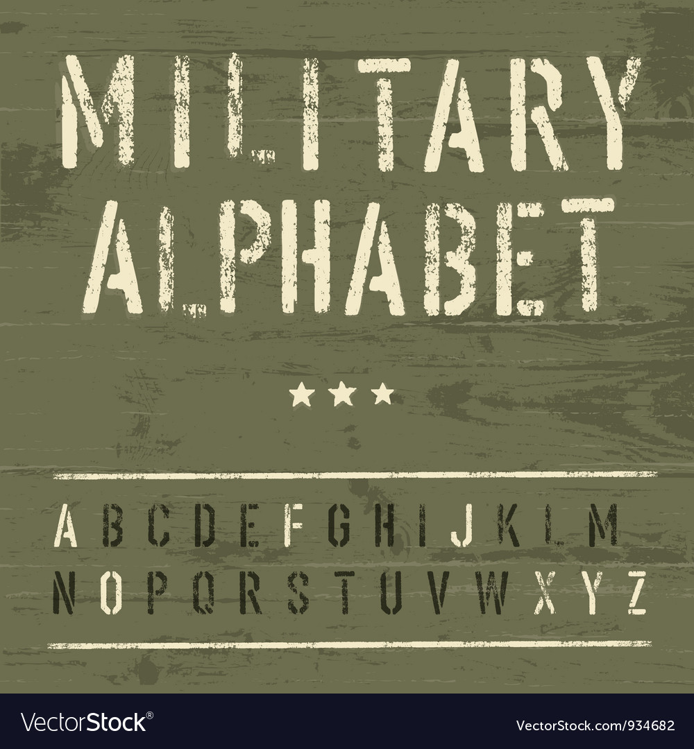 Vintage military alphabet vector | Price: 1 Credit (USD $1)