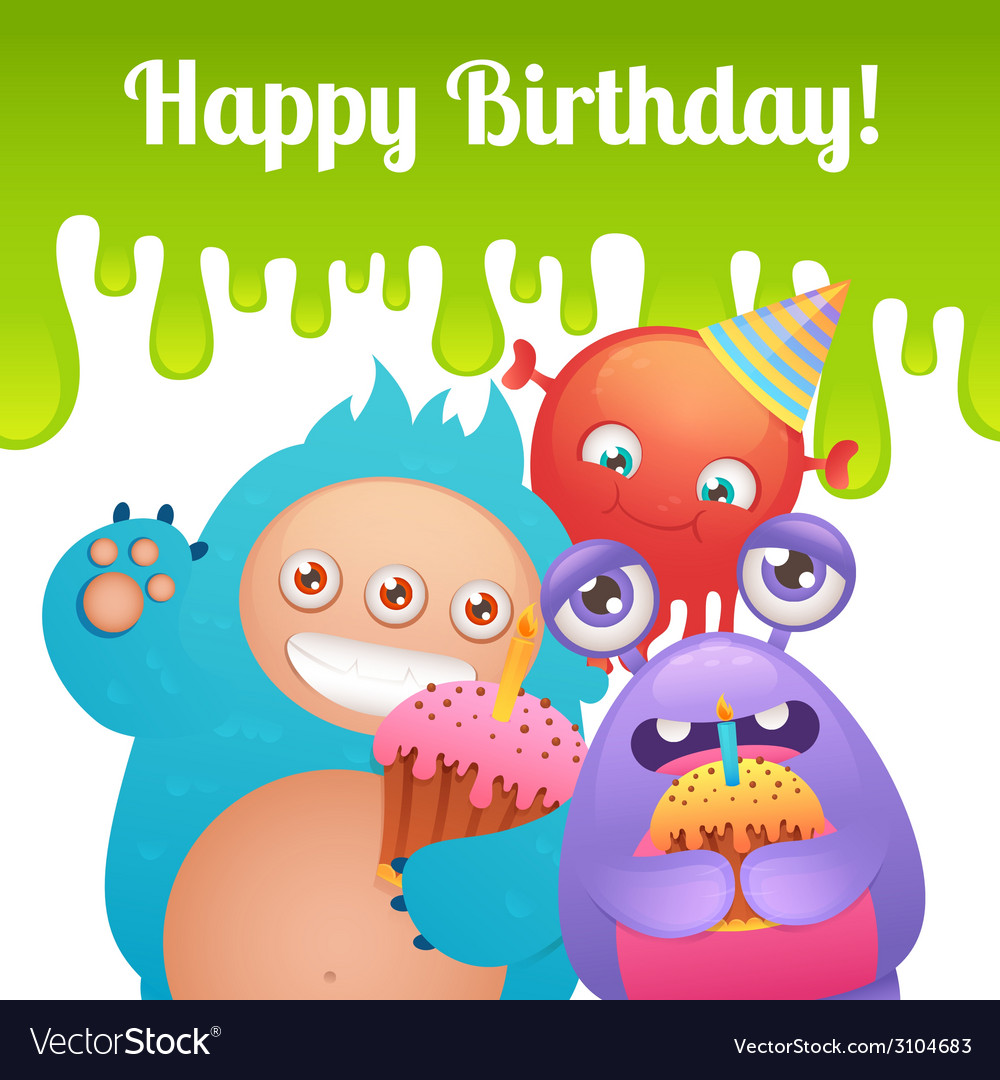 Birthday monsters card vector | Price: 1 Credit (USD $1)