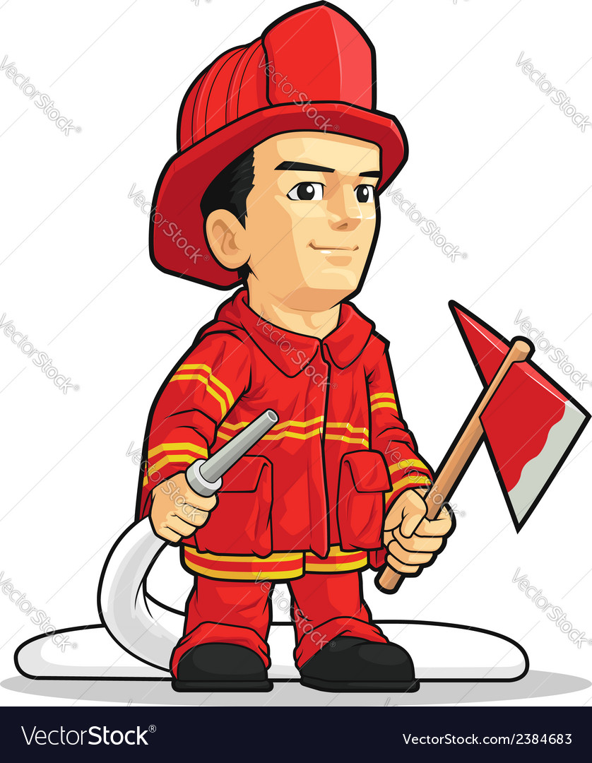 Cartoon of firefighter boy vector | Price: 1 Credit (USD $1)