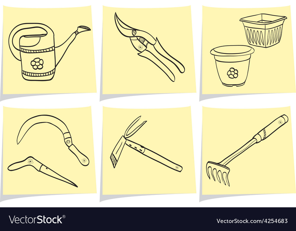 Gardening tools on yellow memo vector | Price: 1 Credit (USD $1)