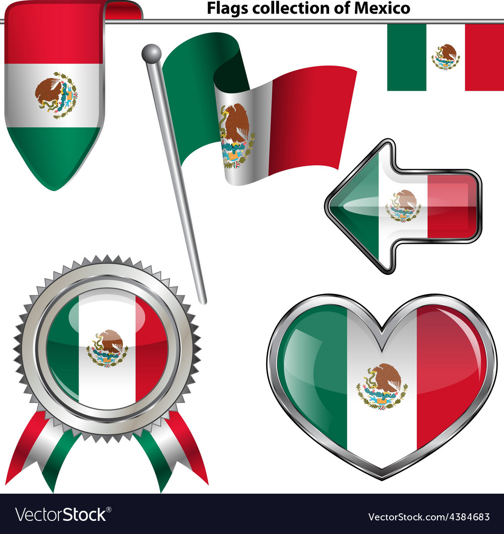 Glossy icons with mexican flag vector | Price: 1 Credit (USD $1)