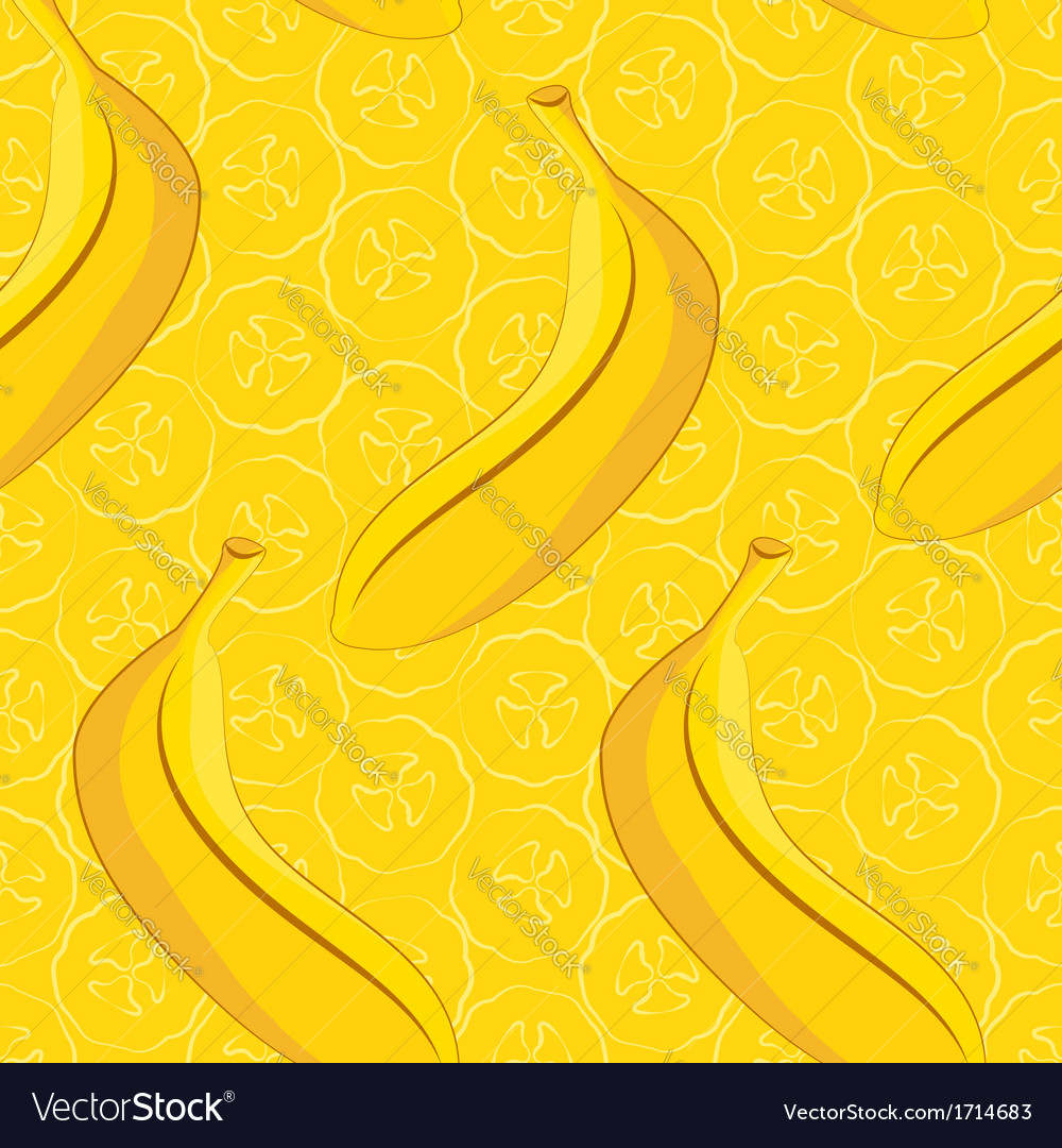 Seamless pattern of yellow banana vector | Price: 1 Credit (USD $1)