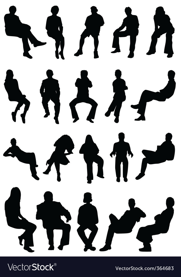 Sitting people vector | Price: 1 Credit (USD $1)