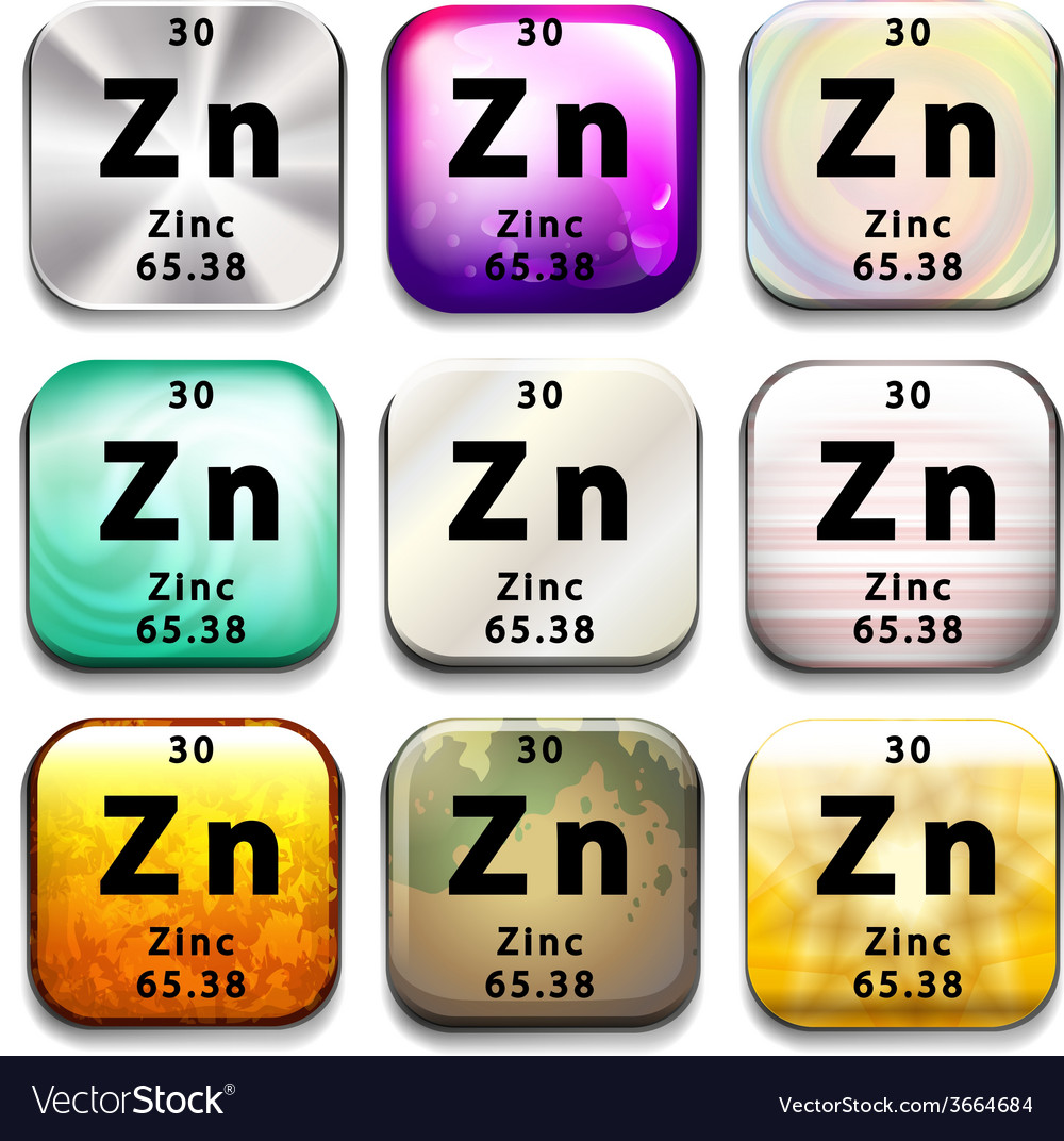 A periodic table showing zinc vector | Price: 1 Credit (USD $1)