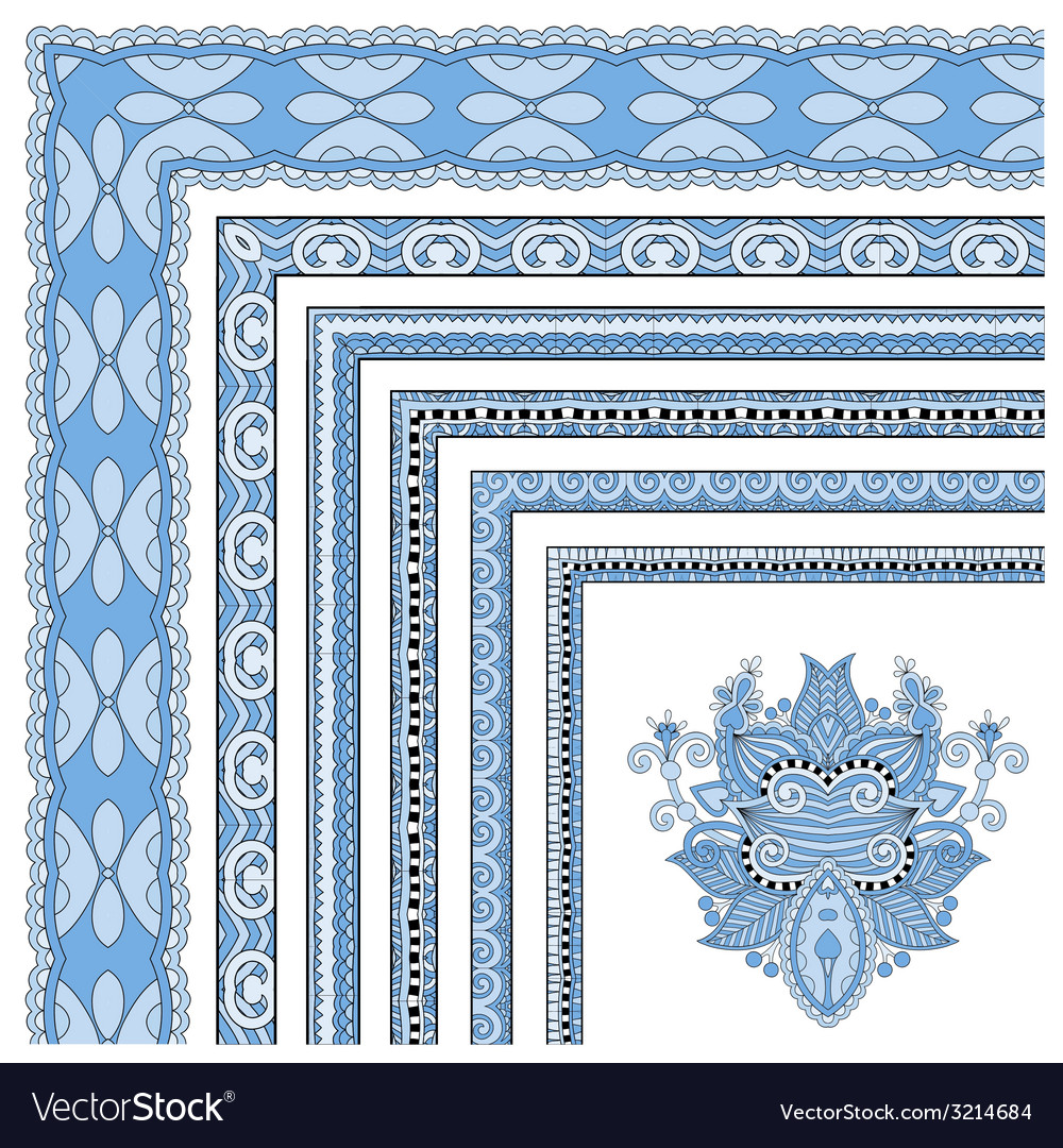 Blue colour floral vintage frame design vector | Price: 1 Credit (USD $1)