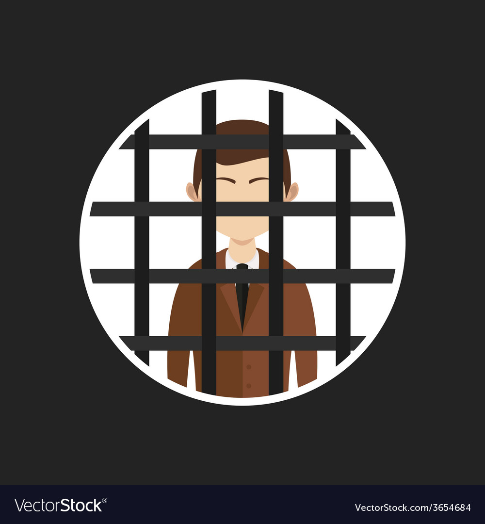 Cartoon businessman in prison vector | Price: 1 Credit (USD $1)