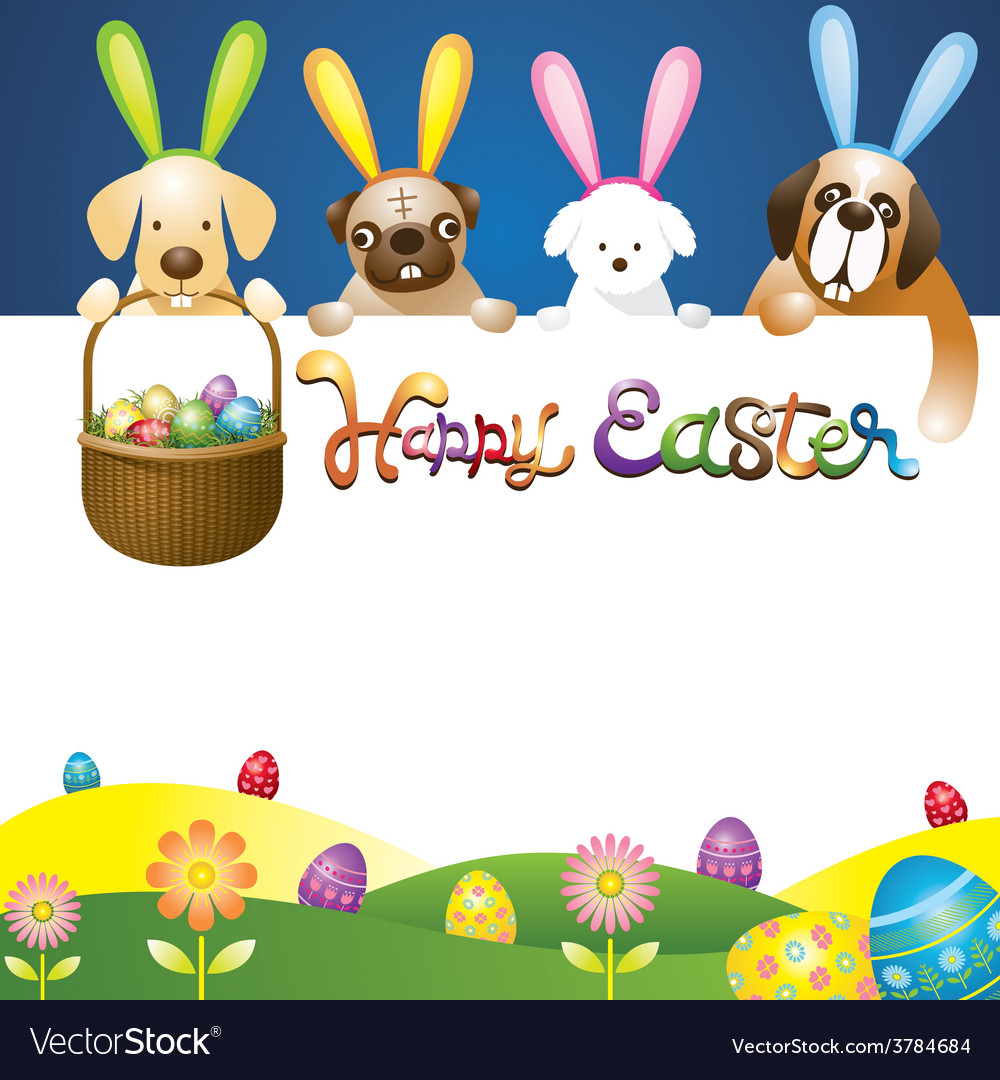 Easter eggs in basket with various dogs as bunnies vector | Price: 3 Credit (USD $3)