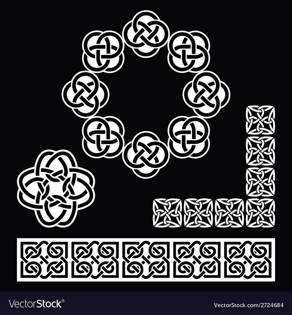 Irish celtic patterns knots and braids on black vector | Price: 1 Credit (USD $1)