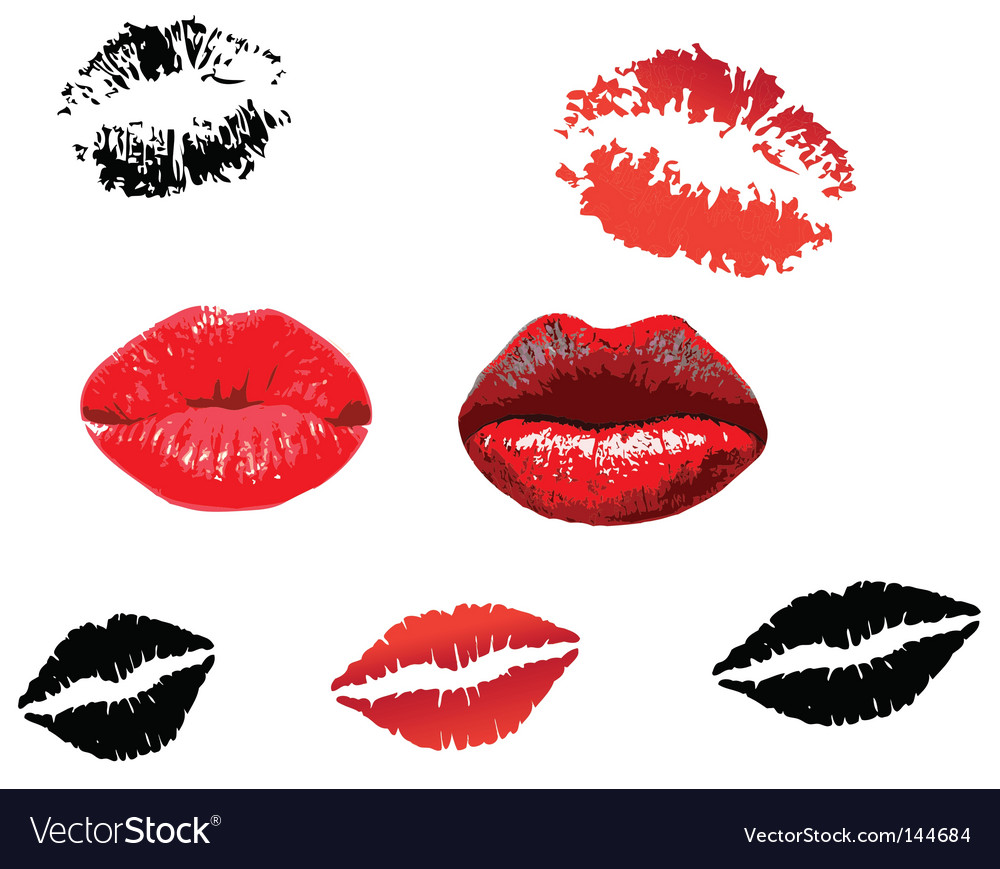 Lips print vector | Price: 1 Credit (USD $1)