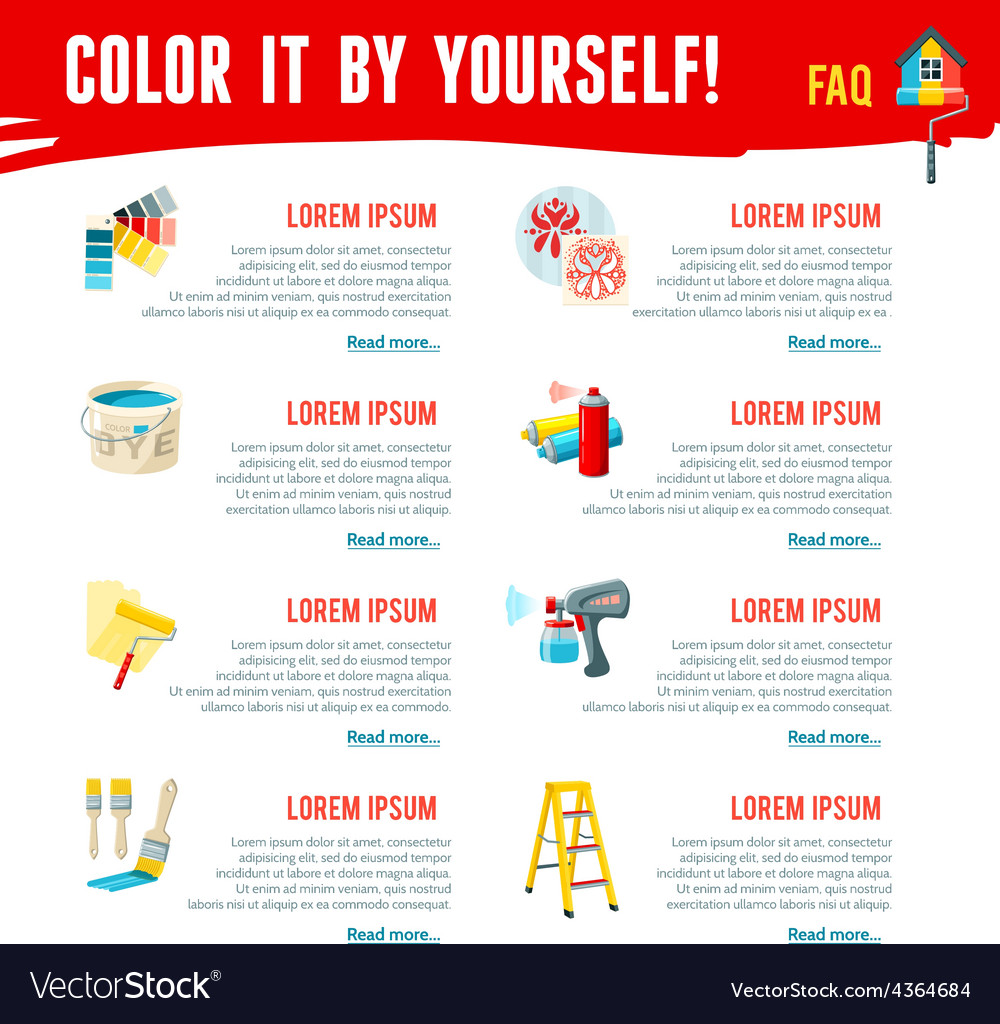 Painting work infographics vector | Price: 1 Credit (USD $1)