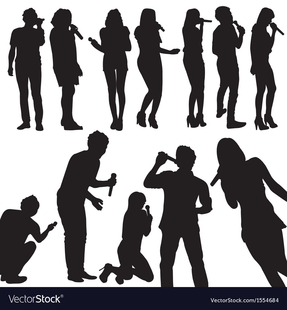 Singers silhouette set vector | Price: 1 Credit (USD $1)