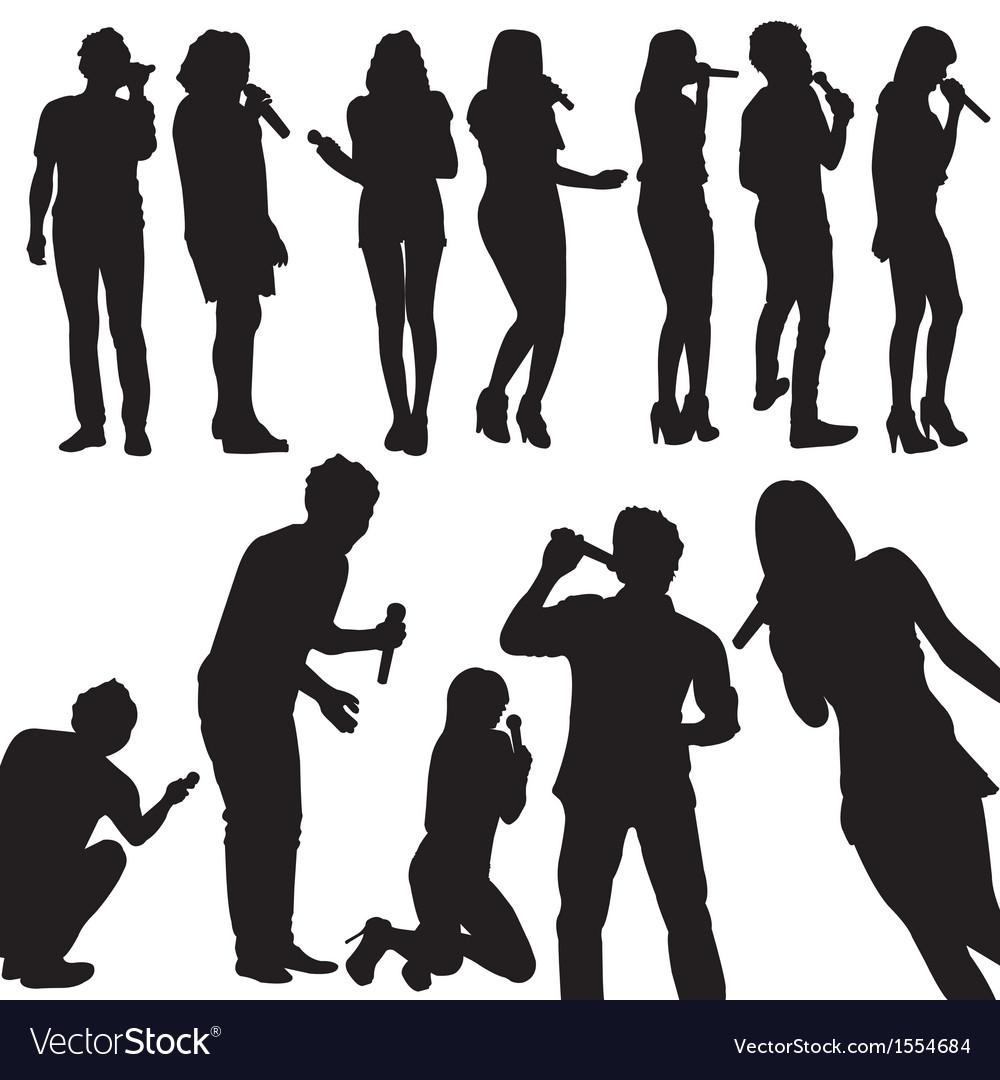 Singers silhouette set vector | Price: 1 Credit (USD $1)