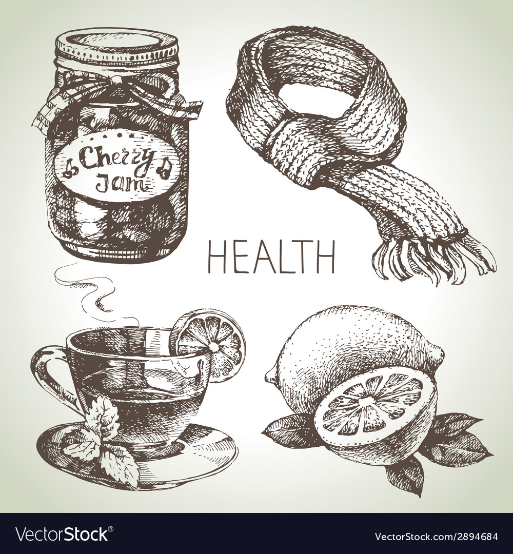 Sketch healthy and medical set hand drawn vector | Price: 1 Credit (USD $1)