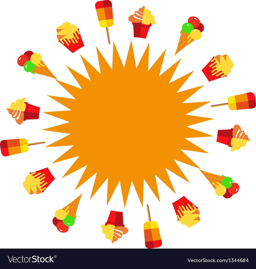 Sun of ice creams at summer time vector | Price: 1 Credit (USD $1)