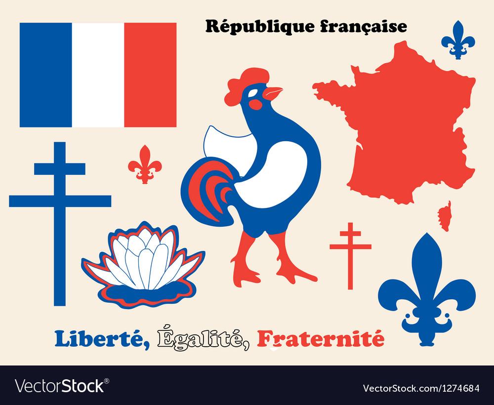 Symbols of france vector | Price: 1 Credit (USD $1)