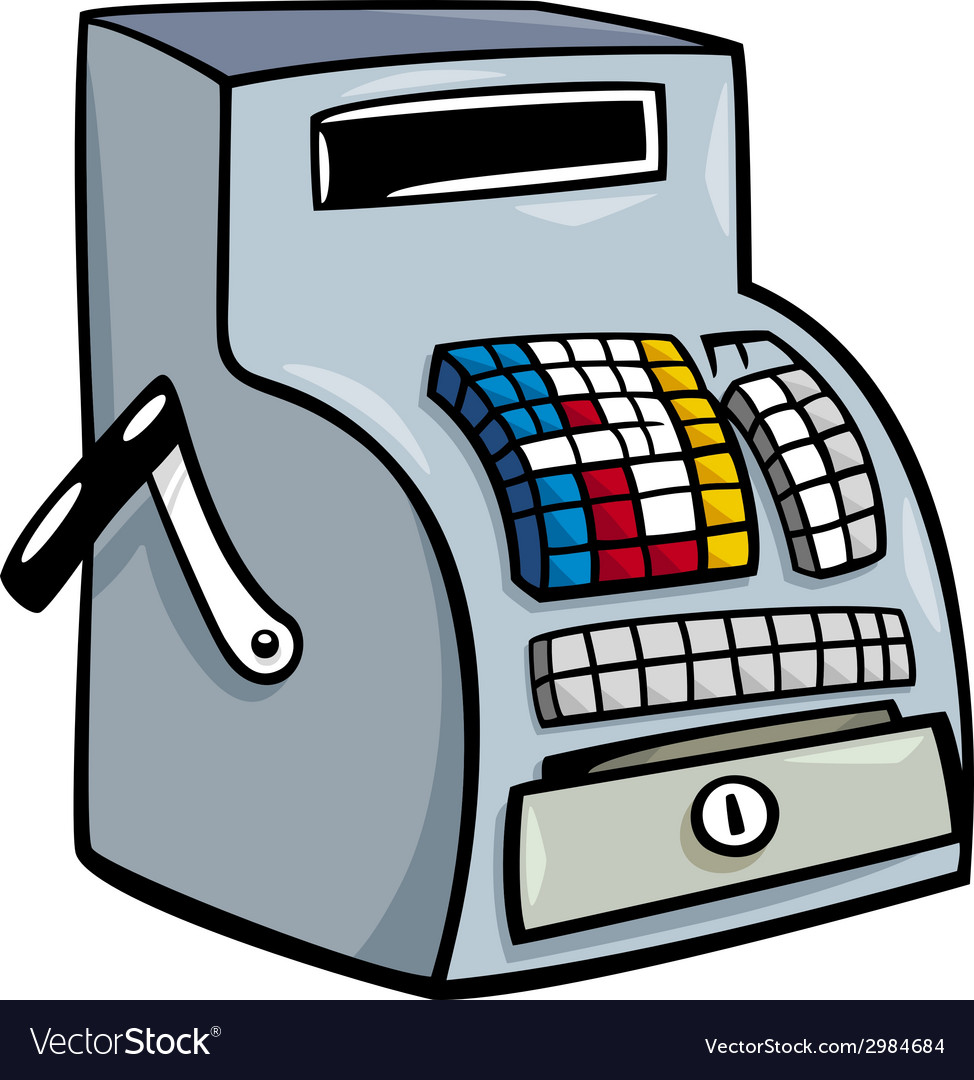 Till or cash register cartoon clip art vector | Price: 1 Credit (USD $1)