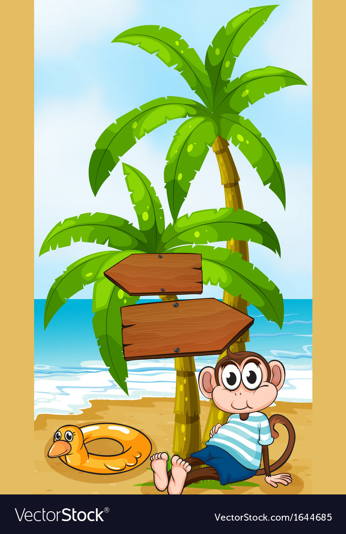 A monkey sitting below the wooden arrowboard vector | Price: 3 Credit (USD $3)