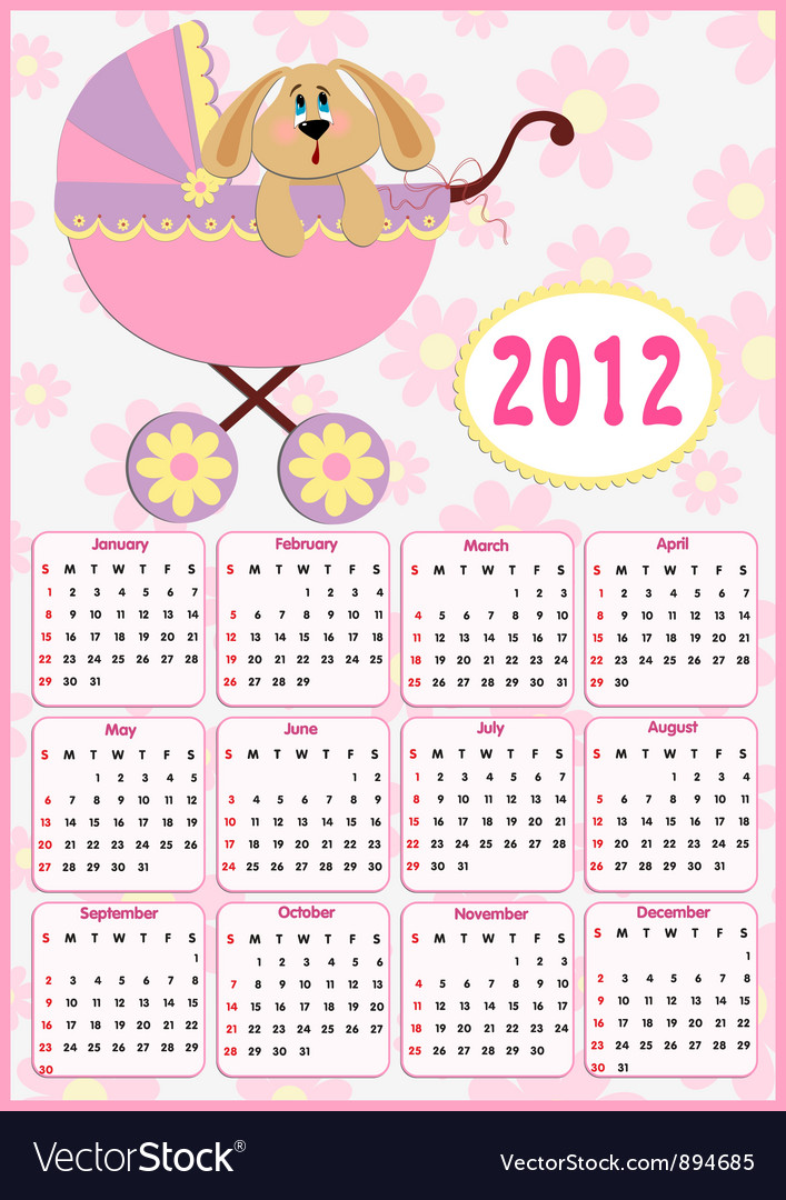 Babys calendar for 2012 vector | Price: 1 Credit (USD $1)
