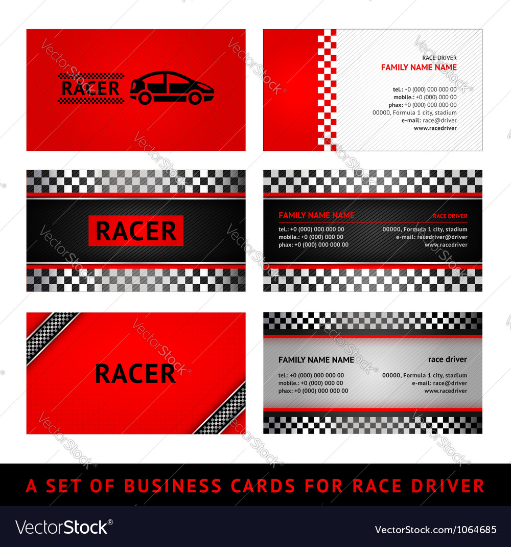 Business cards red race - first set vector   Price: 1 Credit (USD $1)