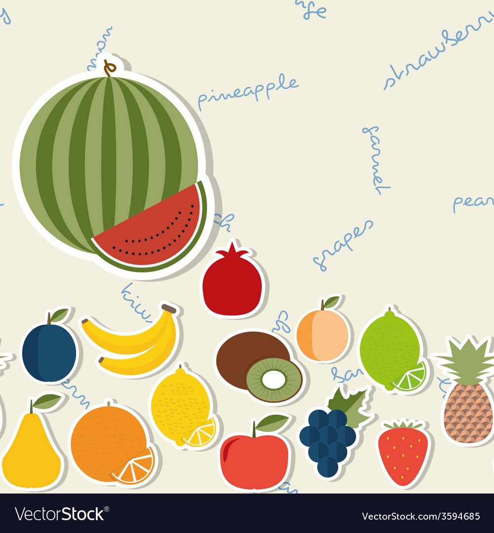 Fruit pattern the image of fruits and berries vector | Price: 1 Credit (USD $1)