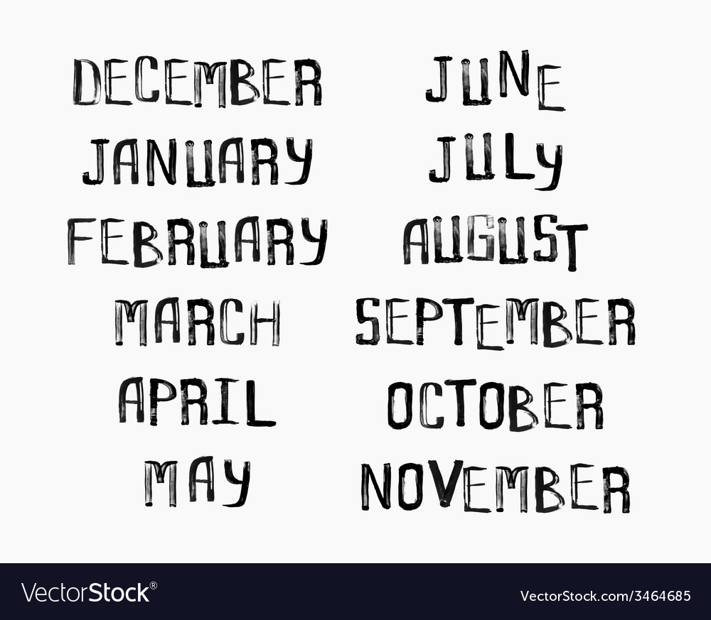 Names of months of the year vintage grunge typo vector | Price: 1 Credit (USD $1)
