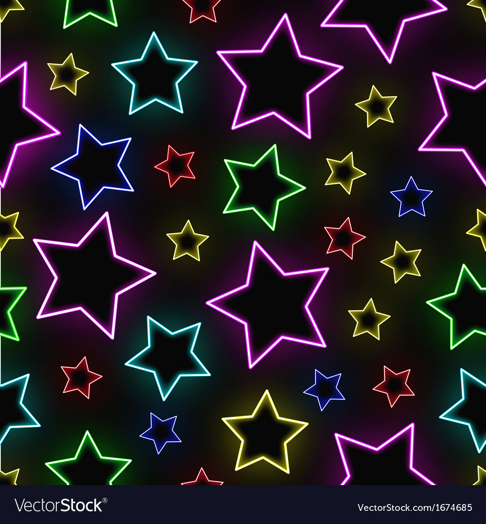 Seamless neon stars background vector | Price: 1 Credit (USD $1)