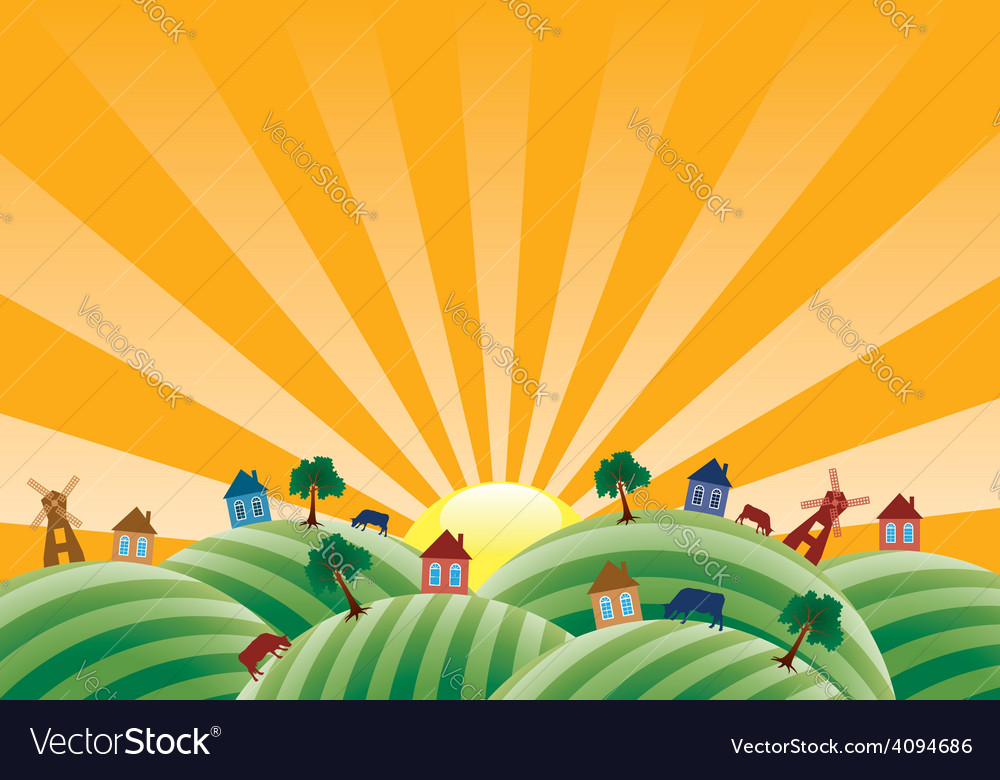 Agricultural landscape vector | Price: 3 Credit (USD $3)