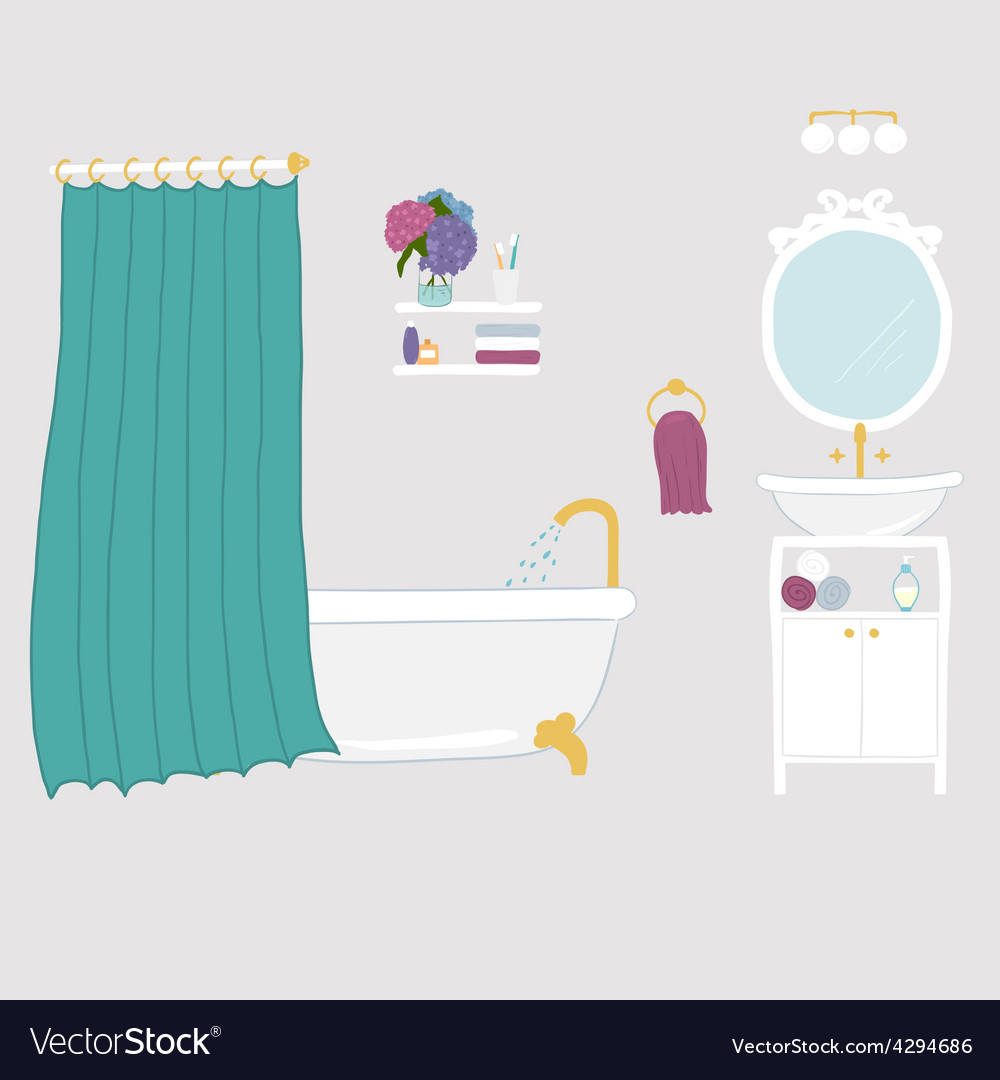 Bathroom interior elements vector | Price: 1 Credit (USD $1)
