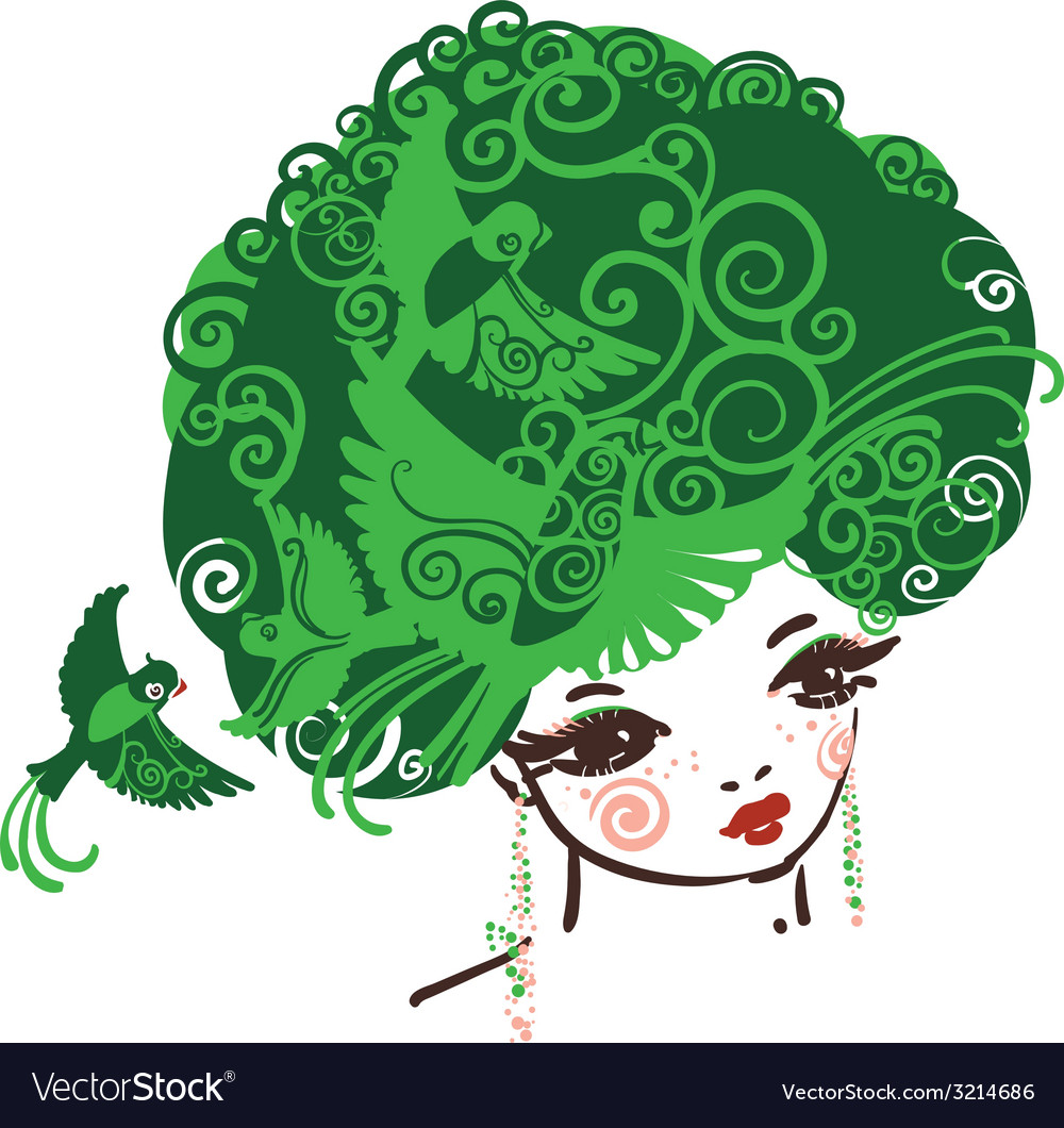 Birdy girl green vector | Price: 1 Credit (USD $1)