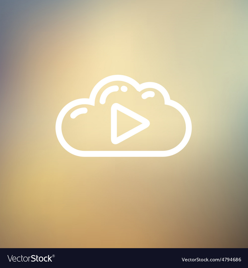 Cloud with arrow pointing to the right thin line vector   Price: 1 Credit (USD $1)