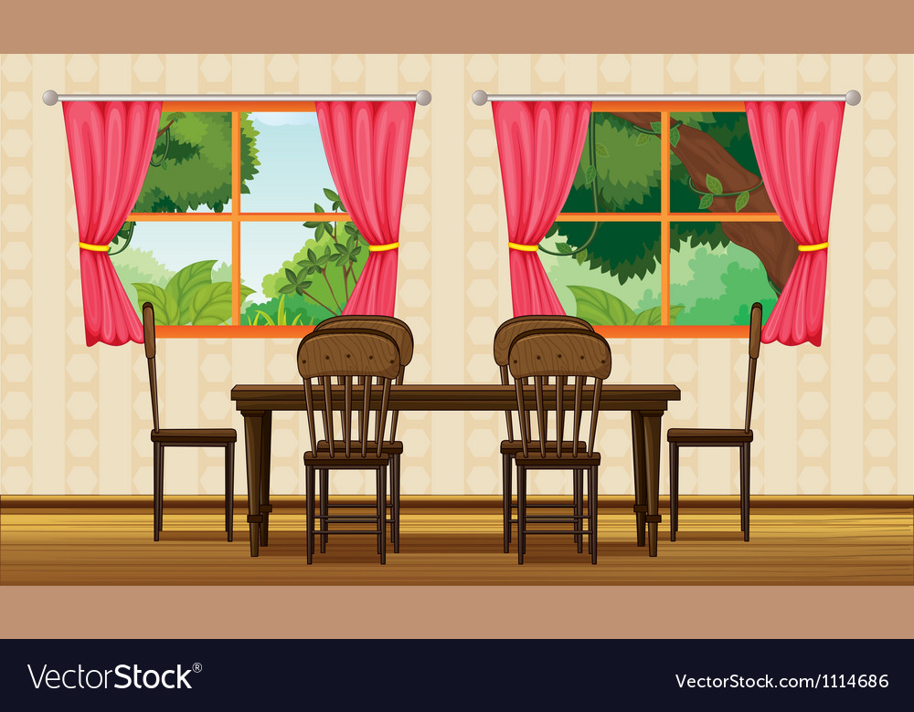 Dining table and chairs vector | Price: 1 Credit (USD $1)