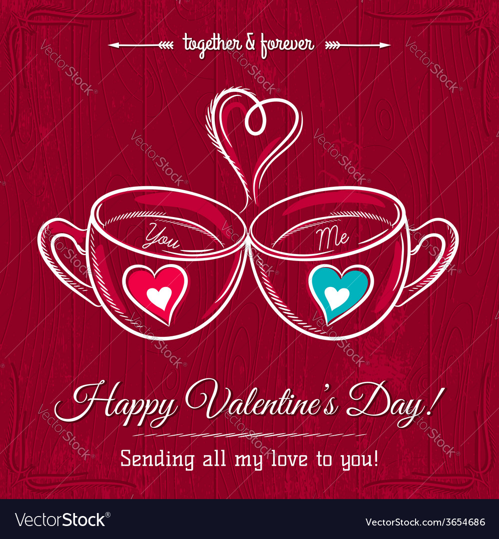 Red valentine card with two cup of hot drink vector | Price: 1 Credit (USD $1)